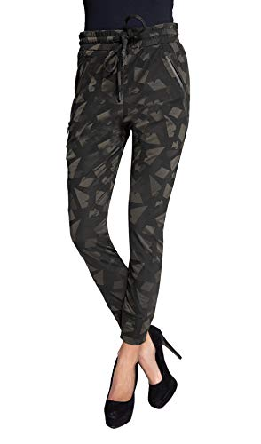 Coccara Damen Joggpant Stoffhose Anzugshose Tapered Cropped Slim Fit Mary, Größe:M, Farbe:CN8206-Olive