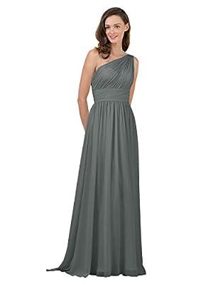 Alicepub Steel Grey Bridesmaid Dresses Chiffon Long Maxi Formal Party Dress for Women One Shoulder, US10