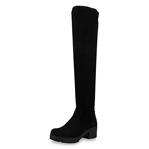 SCARPE VITA Damen Stiefel Overknees Leicht Gefütterte Boots Plateau Vorne 167762 Schwarz 40