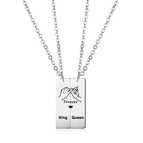 Juego de 2 collares de acero inoxidable con colgante rectangular para pareja, para el mejor amigo, accesorios de joyería