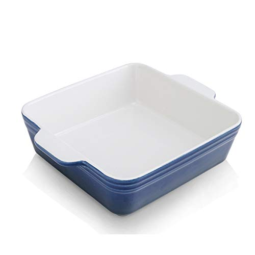 KOOV Ceramic Bakeware, 8x8 Baking Dish, Square Baking Pan, Ceramic Baking Dish, Brownie Pans for Cake Dinner, Kitchen, Gradient Series (Aegean)
