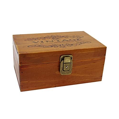 VKSG Caja de almacenamiento de madera vintage con tapa con bisagras, organizador de madera para joyas, maquillaje, té, cerradura de latón antiguo