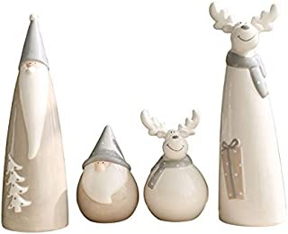 Indie shop Christmas Figurines 4 Pieces Santa Claus in A Set Ceramic Christmas Decoration (4 Pieces in a Set)