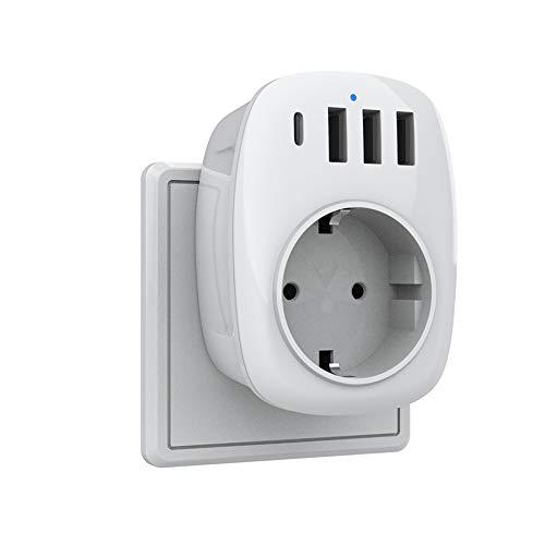 Enchufe USB Pared, 5 en 1 Cargador USB con Tres USB (2.4A) y 1 Tomas de CA + 1 Puerto Tipo C, Ladron Enchufe Multiple Compatible con Phone, Pad, Enchufe Pared Doble para el Hogar, Oficina