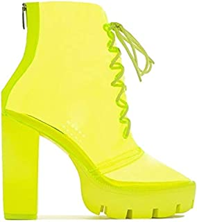 Cybil Womens Transparent Chunky High Heels Clear Ankle Boots Lace Up Platform Shoes