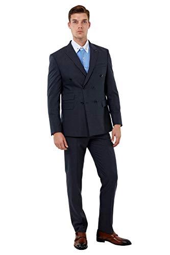 Jack Martin - Gris Raya Diplomática Doble Botonadura Traje Hombre Negocios & Traje de Boda - Gris, 44 Chaqueta, 38 Pantalones