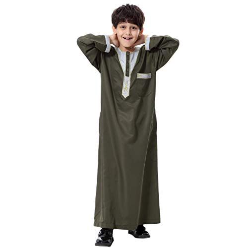 Likecrazy Jungen Muslim Thobe Männer O-Ausschnitt Caftan Arabisch Kleidung Herren Langarm Muslimische Robe Lose Trendy Knöchellang Islamisch Mantel Outwear