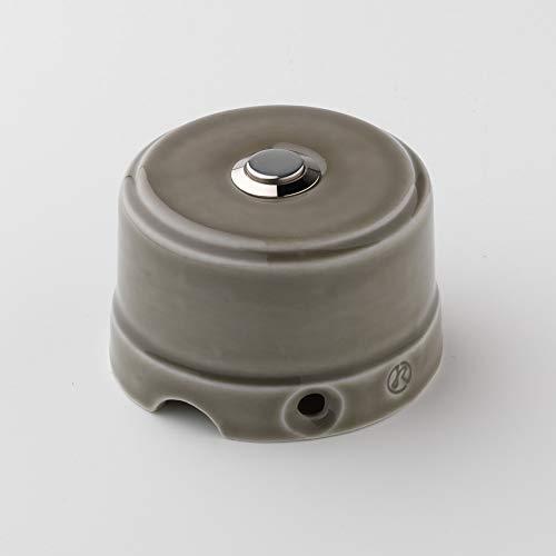Klartext BELLE EPOQUE - Pulsador a presión (48 V, porcelana, acabado brillante), diseño vintage, color gris