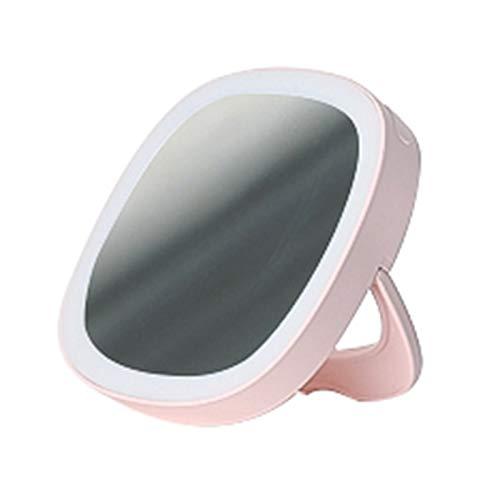 SNOWINSPRING Miroir de Maquillage de éClairé par LED, LumièRe Du Jour LED, Compact, Portable, Miroir Pliant (Rose)