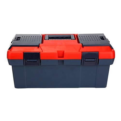 Caja de herramientas Caja de herramientas con bandeja extraíble for herramientas y pestillos negros for el almacenamiento de herramientas en el hogar Maletín de Herramientas Portátil