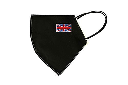 Máscara Facial Plegable con una Bandera Bordada de país de elección, Reutilizable y Lavable, Antipolvo, Protector Facial 100% algodón (Large, Bandera del Reino Unido)