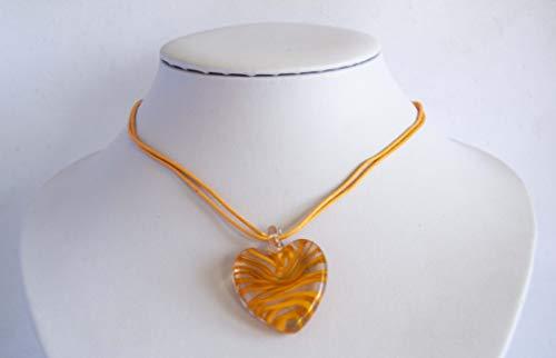 Colgante con corazón de cristal rojo y amarillo Envío GRATIS 72h (Naranja)