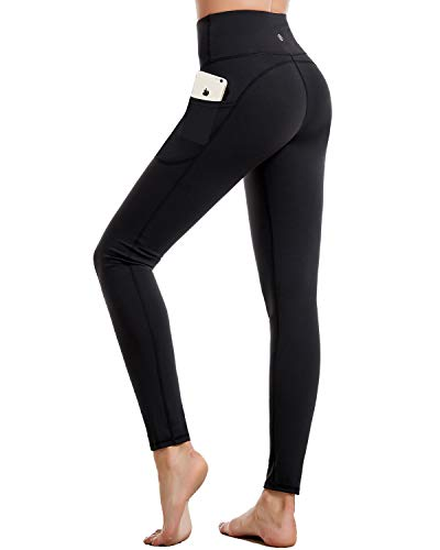 CAMBIVO Yoga Pants for Women High Waist Workout Leggings with Pocket Tummy Control Workout Pants Butt Lifting 4 Way Stretch Yoga Leggings for Home Gym BlackXL