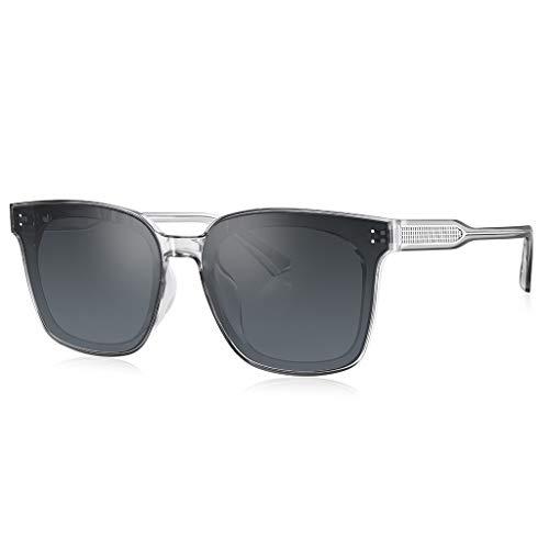 SPARROW Gafas de Sol para Hombres Mujeres UV Protección GM Black Super Gafas Conducción Gafas de Sol Moda de Moda Vidrios de Marco Grande (Color : B-Grey)