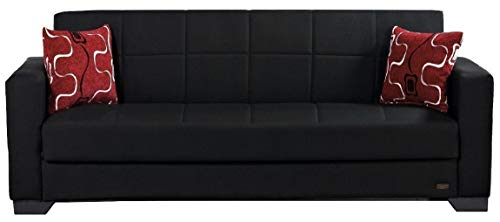BEYAN Vermont Modern Chenille Fabric Upholstered Convertible Sofa Bed with Storage, 84', Black