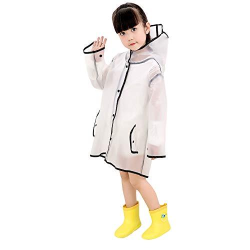 OhhGo Raincoat, Transparent Raincoat Transparent Children Toddler Rain Wear Rain Poncho for Boys Girls (M)