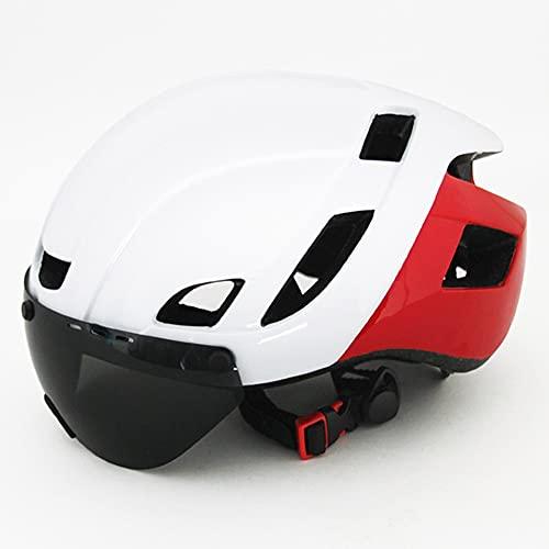 Casco Bici,Ajustable montaña protección Seguridad Unisex Adulto Casco Bicicleta con Desmontable Magnética Protección Gafas,Ligera Carretera Casco Ciclismo con extraíble Acolchado