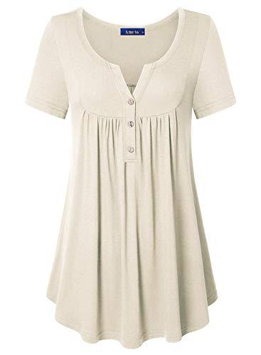Amrto T-Shirt Damen V-Ausschnitt Tunika Tops Knöpfe Bluse Henley Kurzarm Shirts Sommer Oberteile(Beige, Medium)
