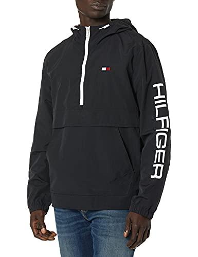 Tommy Hilfiger Men's Retro Lightweight Taslan Popover Jacket, Black, Small