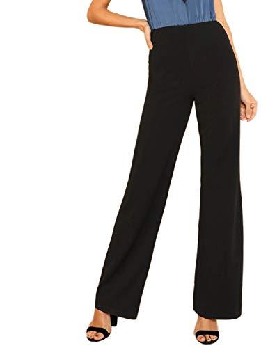 DIDK Damen Hosen Hohe Taille Breites Bein Lange Elastischer Bund Hose Palazzo Einfarbig Anzughose Büro Pants Elegant Schwarz XL