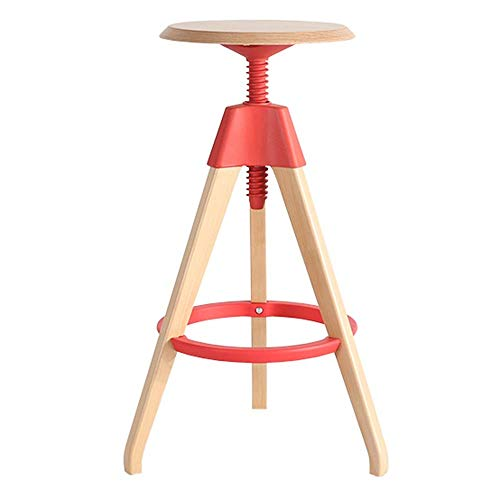 QIAOJUNJUN barkruk, modern minimalistisch massief hout ronde eetstoel 360° draaiende hoge kruk bar meubelstoel lift hoogte verstelbaar 68-76cm