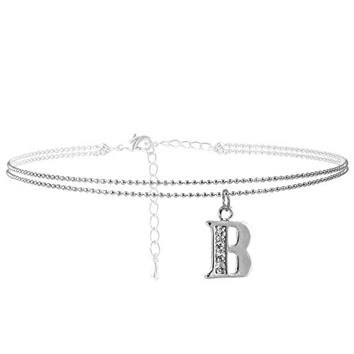 SpinningDaisy Double Line Rhinestone Crystal Initial Anklet -Perfect for Summer - (B-Silver)