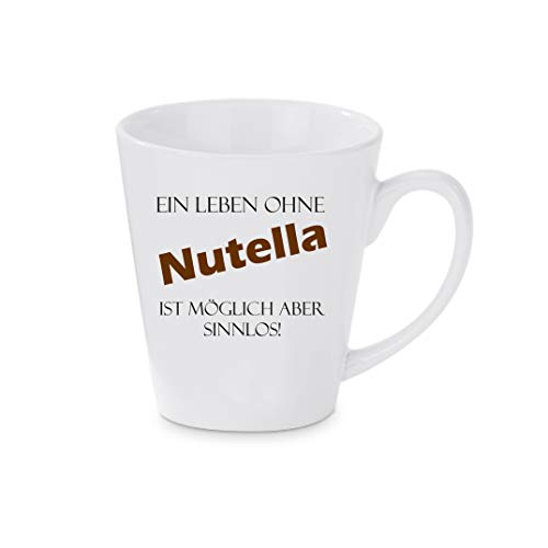 Crealuxe Konische Kaffeetasse, Kaffeepott EIN Leben ohne Nutella ist möglich Aber sinnlos - Kaffeebecher, Becher mit Motiv, Bedruckte Latte oder Cappuccinotasse, auch indualisierbar.