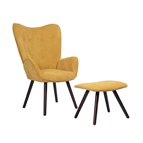 Mueble Cosy - Sillón Grande con reposa puf, Revestimiento de Tejido Amarillo, reposabrazos Acolchados y Patas de Madera Maciza (Haya), 68 x 73 x 106 cm