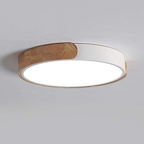 AIXIN Techo LED lámpara Moderna Ultra-Delgado Ronda de Troncos de Madera de Techo Regulable luz del Dormitorio Cocina Salón Iluminación Decorativa (Grande),Blanco,3 Color dimmable