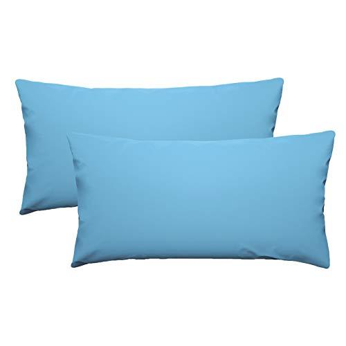 eletecpro - Funda de almohada 100% microfibra con cierre de hotel, funda de almohada súper suave, color resistente, hipoalergénica, agradable para la piel 40 x 80 cm, 2 unidades color azul