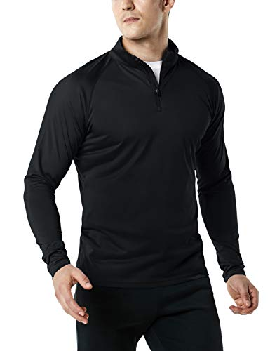 TSLA Men's 1/4 Zip HyperDri Active Sporty Shirt Top, Hyper Dri Quarter Zip(mkz03) - Black, Large