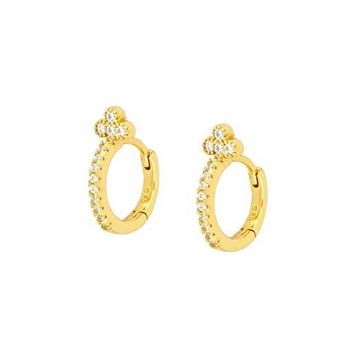 ShSnnwrl Aretes Pendientes Mujer de Plata Hombre Pendiente Pendientes de aro Redondos románticos con Cristales de circonita y Piedras preci