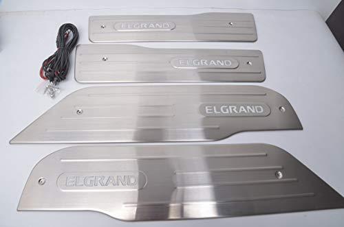 高品質!新品 エルグランドE52専用 LEDスカッフプレート 鏡面仕上げステンレス製ドアステッププレート 白・青発光選択可能 内装LED 4枚セット (ホワイト)