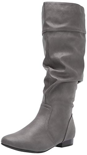 DREAM PAIRS Women's BLVD Grey Pu Knee High Pull On Fall Weather Boots Size 8.5 M US