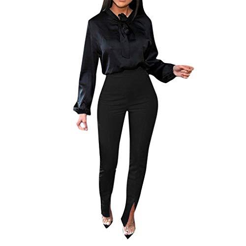 Terby_Hosen Damen Stretch Hose Frauen Reine Farbe Mode Hohe Taille Split Hosen Leggings Fitness Hose Streetwear Jogginghose Lange Bootleg-Hose Zeichnen Hosen(Schwarz,XL)