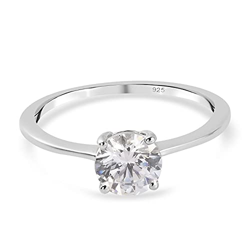 J FRANCIS Solitaire Ring Made with Swarovski Zirconia for Women in Platinum Plated 925 Sterling Silver Engagement Gemstone Jewellery Size N