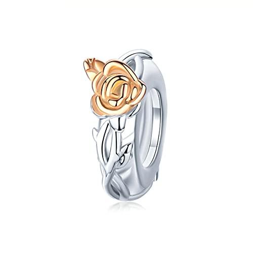 Dije colgante de flor rosa 3D, dijes de color oro rosa de plata esterlina para pulsera o collar, bisutería de bricolaje, BSC146