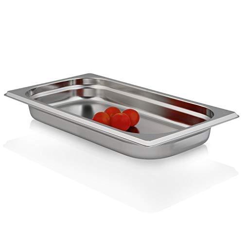 Greyfish GN-Behälter :: ungelocht :: geeignet für Gaggenau, Miele und Siemens Dampfgarer (Edelstahl, Spülmaschine geeignet, Gastronorm 1/3, B 32,5 x T 17,6 x H 4,0 cm)