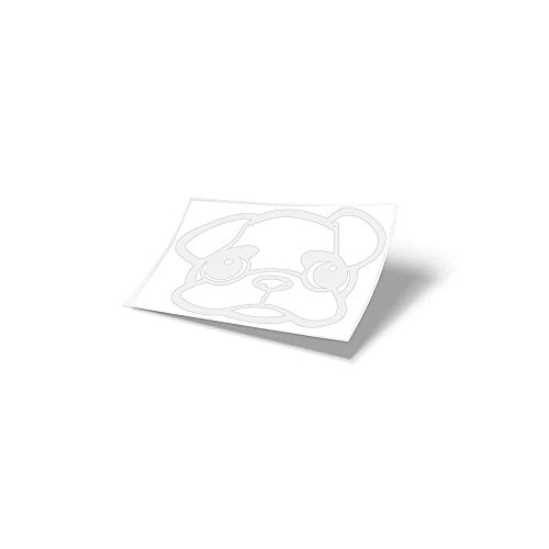 MOPS ME Autostickers, Mopsstickers, auto, stickers, 2 stuks, Mops, maat M, in verschillende kleuren Wit glans 010