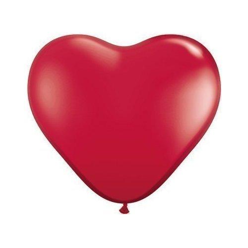 Qualatex Lot de 5 ballons en latex en forme de cœur Rouge rubis