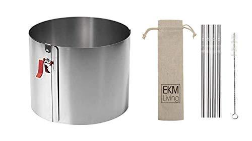 Lares 6030 Tortenring mit Klemmhebel und ! Durchmesser Skalierung ! - Durchmesser, Ø 17-30cm Höhe 15cm + Gratis Trinkhlme von EKM Living GmbH (H: 15 cm, Ø 17-30 cm)