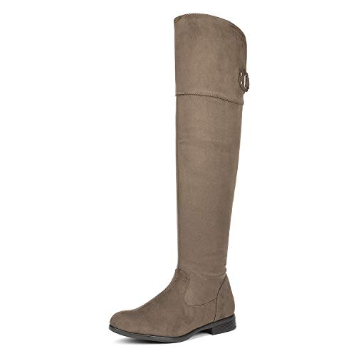 DREAM PAIRS Women's Hi_Flat Khaki Over The Knee Stretchy Thigh High Boots Size 10.5 B(M) US