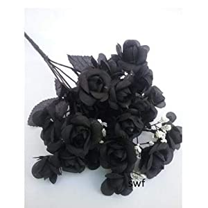 14.5″ mini open rose bush artificial silk wedding bridal craft bouquet flowers 5 stems (black) silk flower arrangements