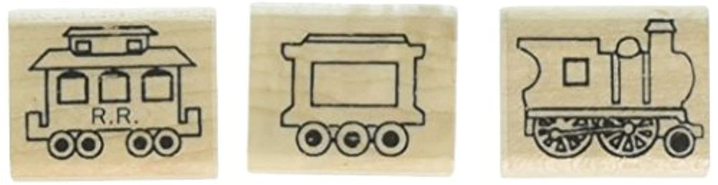 Stamps by Impression ST 1402 3 Piece Train Set Rubber Stamps