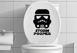 Star Wars Stormtrooper-inspirierter lustiger Aufkleber für Toilette, 20,3 cm hoch, Schwarz