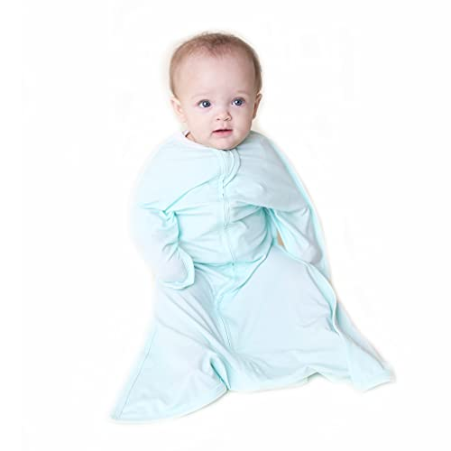 SleepingBaby Poly Zipadee-Zip Swaddle Transition Baby Swaddle Blanket with Zipper, Cozy Baby Sleep Sack Wrap (Small 4-8 Months | 12-19 lbs, 25-29 inches | Classic Mint)