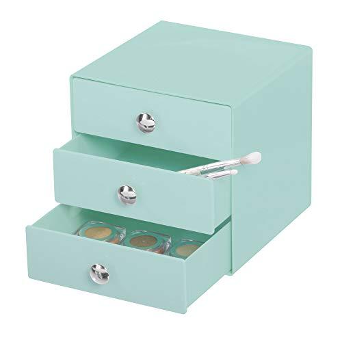 iDesign Drawers Make-Up-Organizer | hochwertige Aufbewahrungsbox für Schminke, Kosmetika & Co. | Schubladenbox mit 3 Schubladen | Kunststoff mint