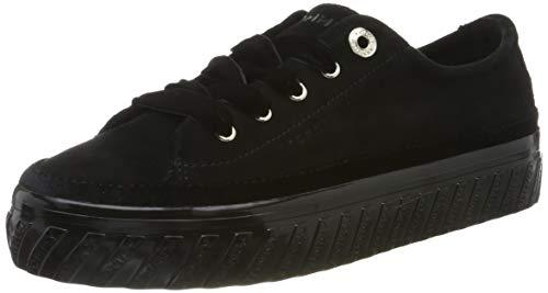 Tommy Hilfiger Damen Velvet LACE Flatform Sneaker, Schwarz (Black 990), 41 EU