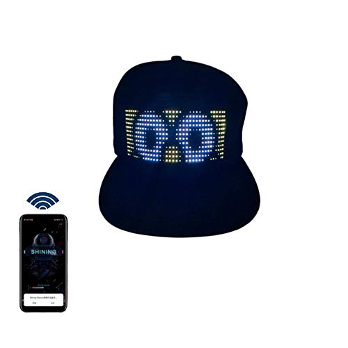 Multi-Language Bluetooth LED Smart Cap, Customized Bluetooth Hat Mobile APP Control Editing LED Display Hat Led Lamp Word (Text, Music, Image, Drawing) for Party Club Christmas Halloween Black