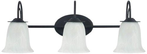 Sea Gull Lighting 44893-839 Bath Vanity with Etched White AlabasterGlass Shades, Blacksmith Finish